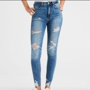Distressed High Waist Ripped Skinny Jeans